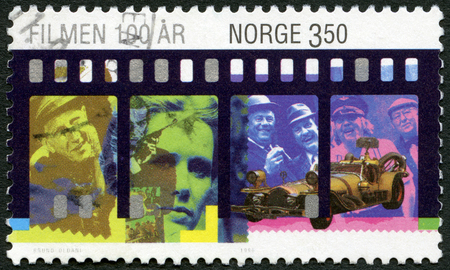 leif: NORWAY - CIRCA 1996: A stamp printed in Norway shows Leif Juster, Sean Connery, Liv Ullmann, The Olsen Gang Films, II Temp Gigante, Century Motion Pictures, circa 1996