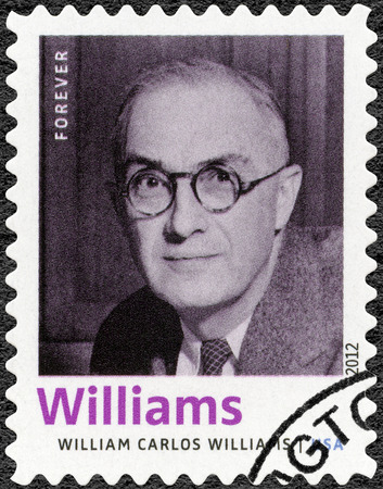 laureate: UNITED STATES OF AMERICA - CIRCA 2012: A stamp printed in USA shows William Carlos Williams (1883-1963), American poet, author, series Nobel Laureate in Literature, circa 2012