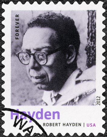essayist: UNITED STATES OF AMERICA - CIRCA 2012: A stamp printed in USA shows Robert Hayden (1913-1980), American poet, essayist and educator, series Nobel Laureate in Literature, circa 2012