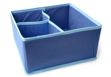 Textile storage box on white background  Stock Photo