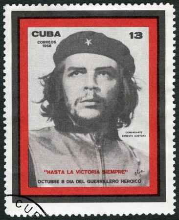 la: CUBA - CIRCA 1968: A stamp printed in Cuba shows commander Ernesto Guevara de la Serna Che Guevara (1928-1967), Revolution Leader, circa 1968