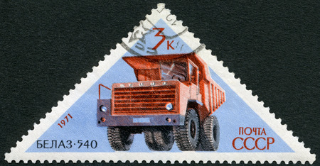 USSR - CIRCA 1971: A stamp printed in USSR shows BelAZ 540 haul truck , series Soviet Cars, circa 1971 Editorial