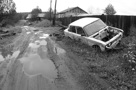 junked: Old car. Black-and-white photo. Stock Photo