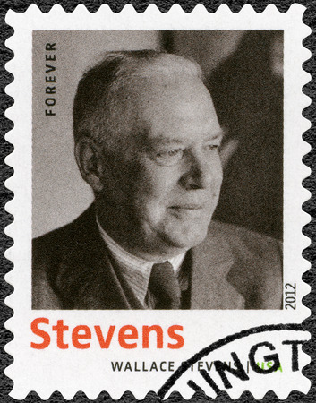 essayist: UNITED STATES OF AMERICA - CIRCA 2012: A stamp printed in USA shows Wallace Stevens (1879-1955), American Modernist poet, series Nobel Laureate in Literature, circa 2012