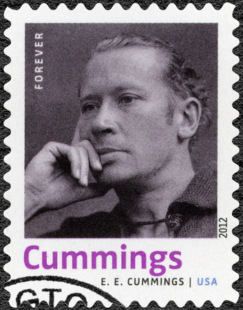 playwright: UNITED STATES OF AMERICA - CIRCA 2012: A stamp printed in USA shows Edward Estlin E.E. Cummings (1894-1962), American poet, painter, essayist, author and playwright, series Nobel Laureate in Literature, circa 2012