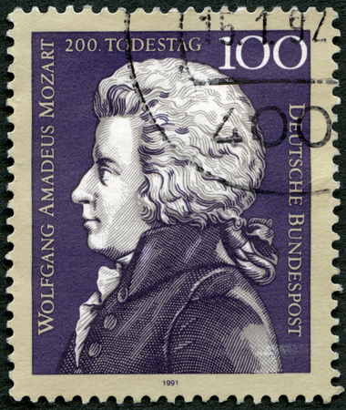 wolfgang: GEMANY - CIRCA 1991: A stamp printed in Germany shows Wolfgang Amadeus Mozart (1756-1791), composer, death bicentenary, circa 1991