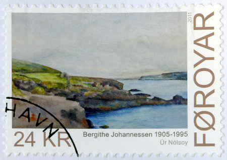 christine: FAROE ISLANDS - CIRCA 2011: A stamp printed in Faroe Islands shows Art, Bergithe Christine Johannessen (1905-1995), watercolour painter from Vestmanna, series Nordic contemporary art, circa 2011 Editorial