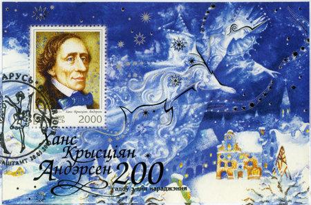 hans: BELARUS - CIRCA 2005: A stamp printed in Belarus shows Hans Christian Andersen (1805-1875),  writer, circa 2005