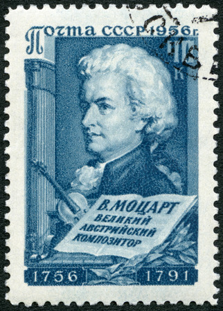 mozart: USSR - CIRCA 1956: A stamp printed in USSR shows Wolfgang Amadeus Mozart (1756-1791), composer, circa 1956