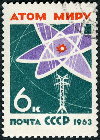 USSR - CIRCA 1963: A stamp printed in USSR shows Atom diagram and power line, World without Arms and Wars, circa 1963