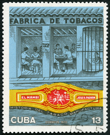 fabrica: CUBA - CIRCA 1970: A stamp printed in Cuba shows Factory, El Mambi band, Jose R Padron, Cuban Cigar Industry, circa 1970