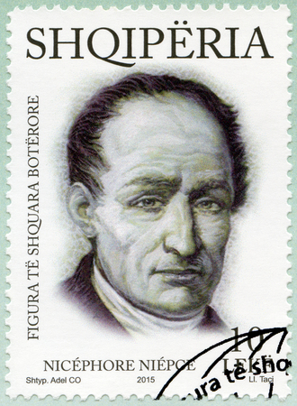 the distinguished: ALBANIA - CIRCA 2015: A stamp printed in Albania shows Nicephore Joseph Niepce (1765-1833), French inventor, series International distinguished personalities, circa 2015