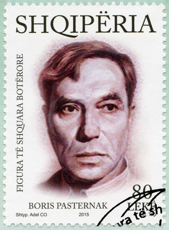 the distinguished: ALBANIA - CIRCA 2015: A stamp printed in Albania shows Boris Pasternak (1890-1960), series International distinguished personalities, circa 2015 Editorial