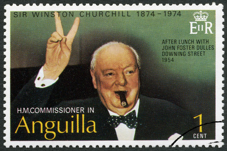 spencer: ANGUILLA - CIRCA 1974: A stamp printed in Anguilla shows Sir Winston Spencer Churchill (1874-1965), Churchill Making Victory Sign, after lunch with John Foster Dulles Downing street, 1954, politician, circa 1974
