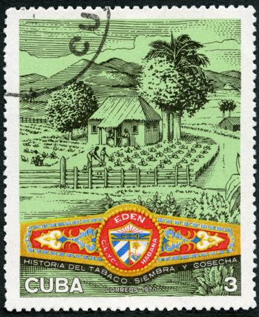 CUBA - CIRCA 1970: A stamp printed in Cuba shows Plantation, Eden cigar band, Cuban Cigar Industry, circa 1970