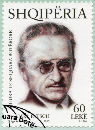 the distinguished: ALBANIA - CIRCA 2015: A stamp printed in Albania shows Carl Ludwig Patsch (1865-1945), series International distinguished personalities, circa 2015