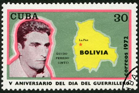 alvaro: CUBA - CIRCA 1972: A stamp printed in Cuba shows Alvaro Guido Peredo Leigue Inti (1938-1969), map of Bolivia, La Paz, Guerrilla Day, 5th anniverssary, circa 1972