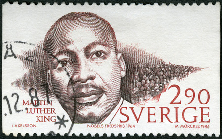 luther: SWEDEN - CIRCA 1986: A stamp printed in Sweden shows Martin Luther King Jr. (1929-1968), Nobel Peace Prize Laureates, circa 1986