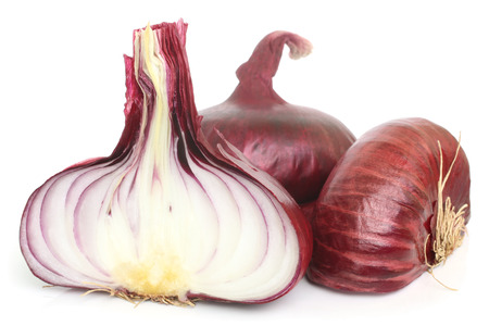 onion peel: Flat red onion on white background