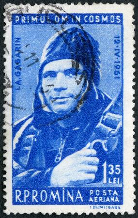 rumania: ROMANIA - CIRCA 1961: A stamp printed in Romania shows Yuri Gagarin (1934-1968), Pilot, 1st man in space, circa 1961