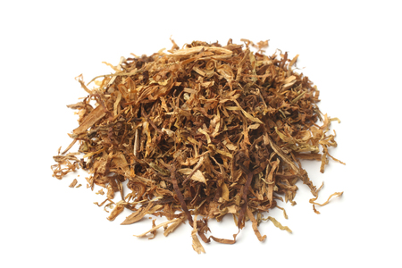loose leaf: Dried smoking tobacco on white background Stock Photo