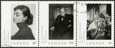 CANADA - CIRCA 2008: A stamp printed in Canada shows Audrey Hepburn (1929-1993), Sir Winston Churchill (1874-1965), and self-portrait of Yousuf Karsh (1908-2002), 1952, portraits  photographer by Yousuf Karsh, circa 2008