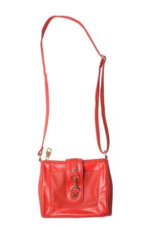 Red leather handbag isolated on white background Stock Photo