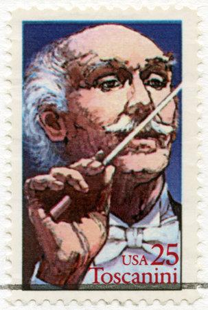 arturo: UNITED STATES OF AMERICA - CIRCA 1989: A stamp printed in USA shows Arturo Toscanini (1867-1975), Italian Conductor, circa 1989 Editorial
