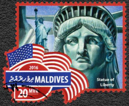 MALDIVES - CIRCA 2016: A stamp printed in Maldives shows Statue of Liberty, Liberty Enlightening the World, circa 2016 Editorial