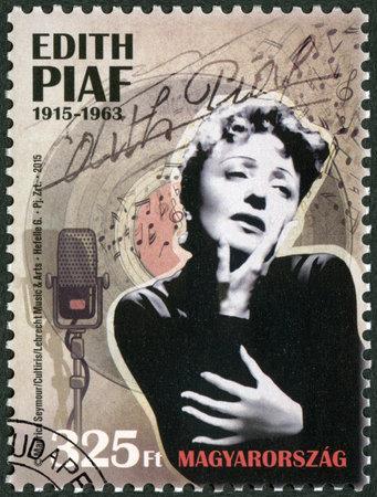 edith: HUNGARY - CIRCA 2015: A stamp printed in Hungary shows Edith Piaf (1915-1963), singer, circa 2015