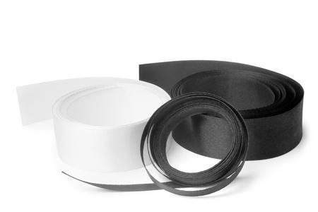 satiny: Black and white satiny tapes on white background Stock Photo