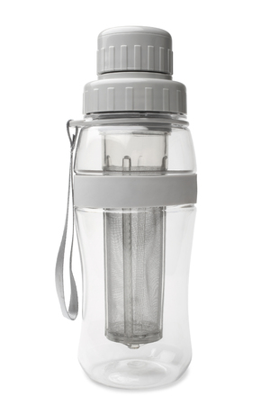 water bottle: Transparent tea bottle with strainer on white background  Stock Photo