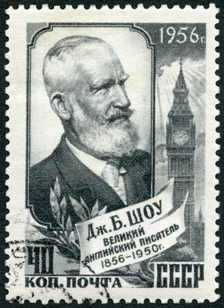 dramatist: USSR - CIRCA 1956: A stamp printed in USSR shows George Bernard Shaw (1856-1950), playwright, circa 1956 Editorial