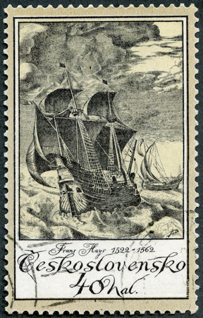 frans: CZECHOSLOVAKIA - CIRCA 1976: A stamp printed in Czechoslovakia shows Ships in Storm by Frans Huys (1522-1562), series Old Engravings of Ships, circa 1976 Editorial