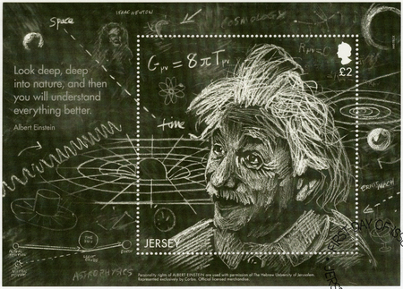 JERSEY - CIRCA 2016: A stamp printed in Jersey shows Albert Einstein (1879-1955), physicist, Einsteins Theory of General Relativity, circa 2016 Editorial
