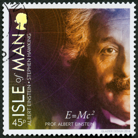 ISLE OF MAN - CIRCA 2016: A stamp printed in isle of Man shows Albert Einstein (1879-1955), physicist, 100 Years of General Relativity, circa 2016