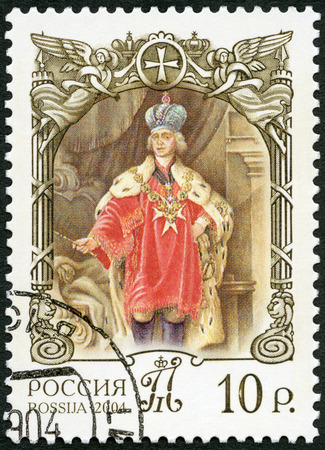 RUSSIA - CIRCA 2004: A stamp printed in Russia shows Paul I (1754-1801), the Grand Master of the Maltese Order, series History of Russian State, 250th Birth Anniversary of Paul I, Russian Emperor, circa 2004