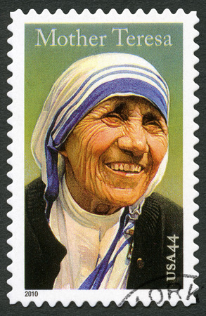 beatification: USA - CIRCA 2010: A stamp printed in USA shows Mother Teresa (1910-1997), circa 2010