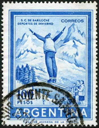 ARGENTINA - CIRCA 1959: A stamp printed in Argentina shows Ski Jumper, circa 1959