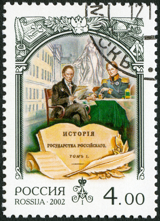 RUSSIA - CIRCA 2002: A stamp printed in Russia shows Alexander I (1777-1825), Alexander I and M.M.Speransky, dedicated the history of Russia, circa 2002