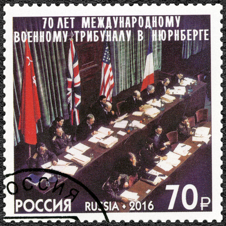RUSSIA - CIRCA 2016: A stamp printed in Russia devoted The 70th Anniversary of the International Nuremberg Military Tribunals, circa 2016 Editorial