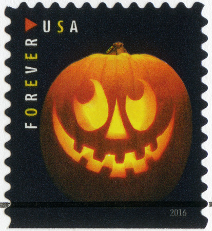 UNITED STATES OF AMERICA - CIRCA 2016: A stamp printed in USA devoted Halloween, Jack olanterns, pumpkin lantern, circa 2016 Editorial