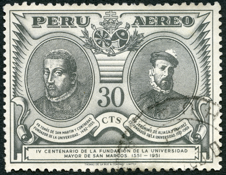 conquistador: PERU - CIRCA 1951: A stamp printed in Peru shows Thomas de San Martin y Contreras (1482-1555) and Jero nimo de Aliaga y Ramirez conquistador (1508-1569), 400th anniversary of the founding of San Marcos University, circa 1951