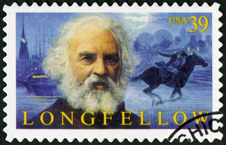 novelist: UNITED STATES OF AMERICA - CIRCA 2007: A stamp printed in USA shows Henry Wadsworth Longfellow (1807-1882), American poet, circa 2007 Editorial