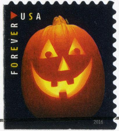 UNITED STATES OF AMERICA - CIRCA 2016: A stamp printed in USA devoted Halloween, Jack olanterns, pumpkin lantern, circa 2016 Editorial