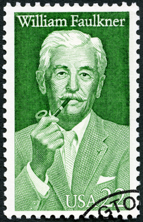 UNITED STATES OF AMERICA - CIRCA 1987: A stamp printed in USA shows William Cuthbert Faulkner (1897-1962), novelist, literary arts series, circa 1987