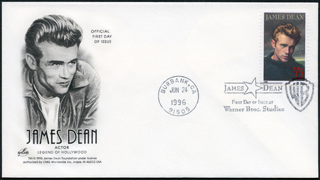 USA - CIRCA 1996: A stamp printed in USA shows James Dean (1931-1955), actor, circa 1996 Editorial