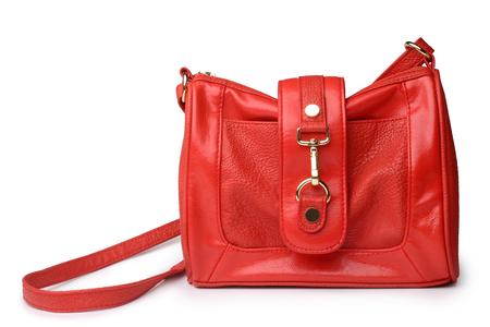 Red leather handbag on white background Stock Photo