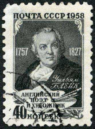 printmaker: USSR - CIRCA 1958: A stamp printed in USSR shows William Blake (1757-1827), poet, painter, circa 1958