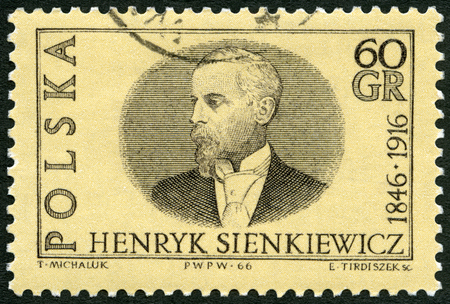 pius: POLAND - CIRCA 1966: A stamp printed in Poland shows Henryk Adam Aleksander Pius Sienkiewicz (1846-1916), author and winner of 1905 Nobel Prize, circa 1966